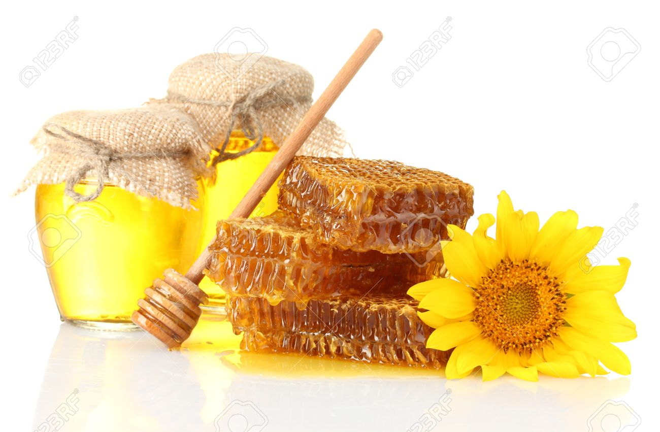 14794363 Sweet Honeycombs Jars With Honey Wooden Drizzler And Sunflower Isolated On White Stock Photo