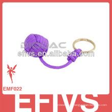 Púrpura Llavero de encargo del paracord del tejido el nudo del puño del mono