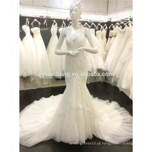 2015 Western Style Scoop Neck Veja através de Corset Lace Mermaid Dress Tulle Tail Vestidos De Noiva Backless Wedding Dress A081