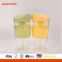Copo de vidro reutilizável grátis de alta qualidade com vidro de parede duplo BPA