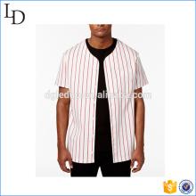 Logotipo y diseño personalizado de la camiseta de hockey blanco bordada a rayas para usted