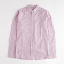 Chemise Dobby Rose à Manches Longues pour Homme