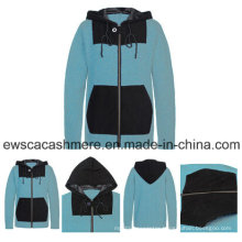 Men′s Mint Color Pure Cashmere Sweater with Hoodie Hat