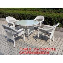Runde PE Rattan Dining Set weiß Möbel