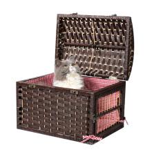 Gaiola pequena pequena animal do animal de estimação de vime do gato do animal de estimação do fechamento do metal da caixa do animal de estimação da porta do estábulo 2