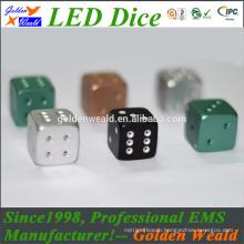 colorful LED 20mm aluminium alloy dice