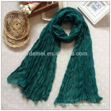 Crepe polyester long lime green scarf