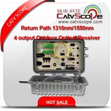 Fournisseur professionnel Chemin de retour haute performance 1310nm / 1550nm 4 Sortie Récepteur optique extérieur 1 / RF 1310 ou 1550 Nœud optique CATV à l'extérieur