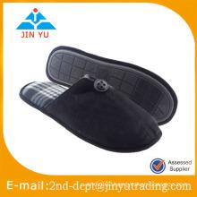 Black suede indoor slipper with TPR sole