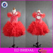 ED Bridal Hot Sale sem mangas Lovely Beaded Halter Vestido de baile Organza Flower Girl Dress para menina de 2 a 6 anos de idade