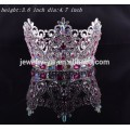 fashion metal silver plated crystal full round beauty queen crowns