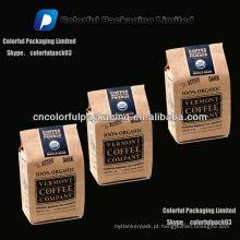 250 grama / 8oz Kraft quad seal sacos de grãos de café / saco de grãos de café torrado Kraft