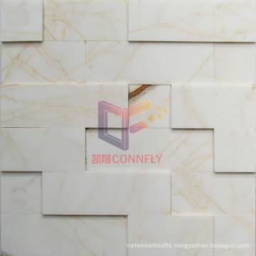 White and Gold Mixed Natural Marble Mosaic (CFS1058)