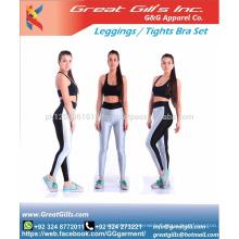 Custom made new sports bra zip and leggings shorts set / tights