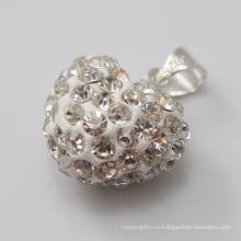 Новый год подарок Shamballa подвеска Оптовая формы сердца новое прибытие 15 мм белый кристалл глины подвеска для ювелирных изделий DIY