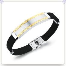 Rubber Bracelet Stainless Steel Jewelry Silicone Bracelet (LB218)