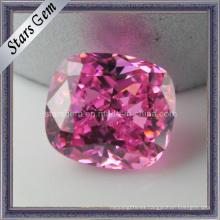 Rosa rosa rectángulo forma amortiguador corte zirconia cúbico
