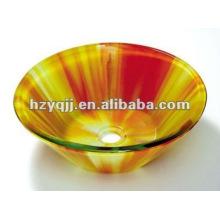 modern design double layer bowl lavatory bathroom glass vessel sink