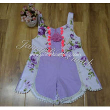 latest design purple floral baby bubble sunsuit rompers