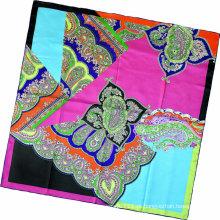 Senhora moda paisley impresso lenço quadrado de seda (hc1315-2)
