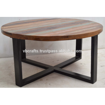 Reclaimed scrap wood roud top wrought iron leg Indian coffee table