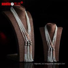 Moda de agua dulce natural collar de perlas de diseño de joyería