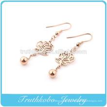 Creux boucles d'oreilles pendantes de fleurs avec boule pour accessoires de bijoux en acier inoxydable de mode féminine