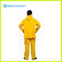 Jaune PVC Polyester Safety Rainsuit (RPP-042)
