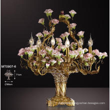 Beautiful Elegant Classical Flower Decoration Brass Table Lamp (MT0907-6)