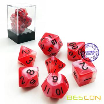 Gemini Two Tone Swirled Red RPG Dice Set of 7 in Brick Box Package, Complete Polyhedral Dice Set of d4 d6 d8 d10 d12 d20 d%