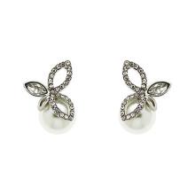 925 Silber Finesse Kristall und Perle Blatt Ohrstecker Schmuck mit vergoldeten