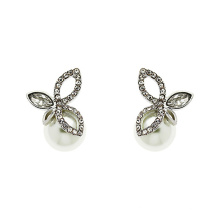 925 Silver Finesse Crystal and Pearl Leaf Stud Earrings jewelry with Gold Plated