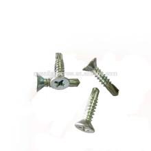 Zinc plated Phillips counter-sunk head self drilling screw