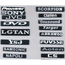 Different Brands and Different Fonts Aluminum Nameplate