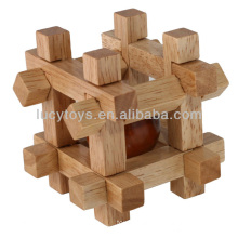 wooden ball in cube puzzle box