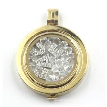 Locket flottant avec plaque de monnaie pour collier pendentif