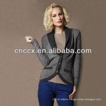 13STC5516 100%wool shalw collar ladies wool cardigan sweater