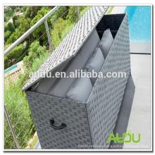 Rattan impermeable al aire libre cojines caja de almacenamiento