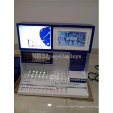 Merchandising Tabletop Led Lighting Wood Acrylic Make Up Products Display Eyebrow Threading Display