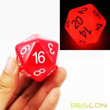 Bescon Jumbo Glowing D20 38MM, Big Size 20 Sides Dice Red Glow In Dark, Big 20 Faces Cube 1.5 inch