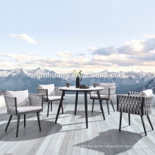 Modern design outdoor balcony dining set webbing furniture rope weaving chair