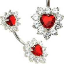 Double Red Heart Crystal Belly Button Bar