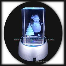 customized image 3d laser enrgaved crystal snowman with led base
