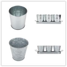 Tin Planter Pots With Rectangular Tray