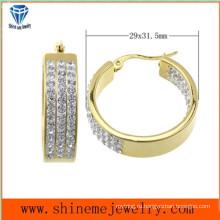 Shineme ювелирные изделия высокого качества самое лучшее Цена нержавеющей стали золота Плакировкой серьги с CZ (ERS6903)