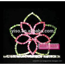 Encantadora flor diamante pelo adornos pequeños tiara