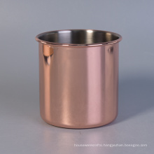 460ml Cylinder Rose Golden Electroplated Stainless Steel Candle Holders
