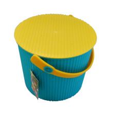 Seau de rangement bleu en plastique bleu avec poignée (B05-6669)