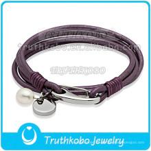 Fashion Magnetic Clap Watch Pulsera de cuero genuino Pulsera de cuero de acero inoxidable Perla blanca Brazalete púrpura
