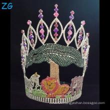 Colored Rhinestone Home Decorations Metal Crowns, Custom Made Tiara